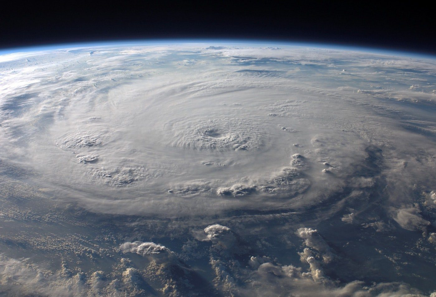outer earth view of hurricane eye of the storm
